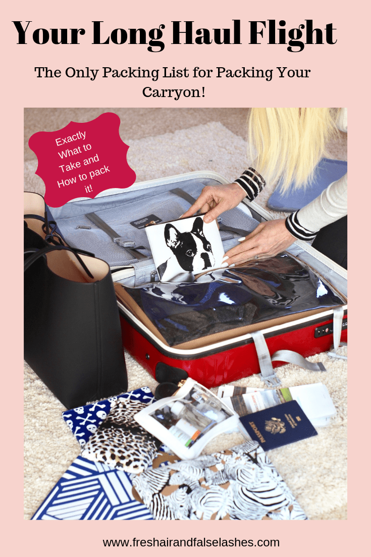 Long Haul Flight Essentials. Exactly what and how to pack your carryon for your long haul flight. #longhaulflight #packinghacks #packingtips